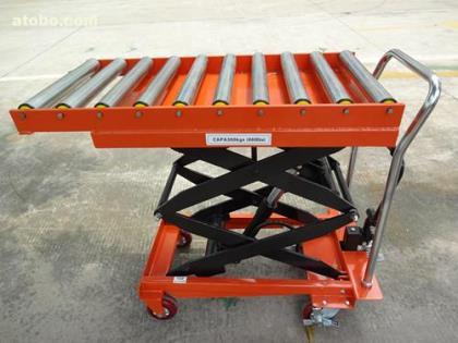 手动液压平台车 小型升降平台车 滚筒式平台车图片